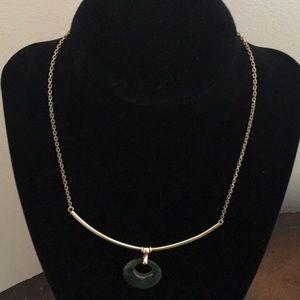 Gold necklace 14k with jade pendant